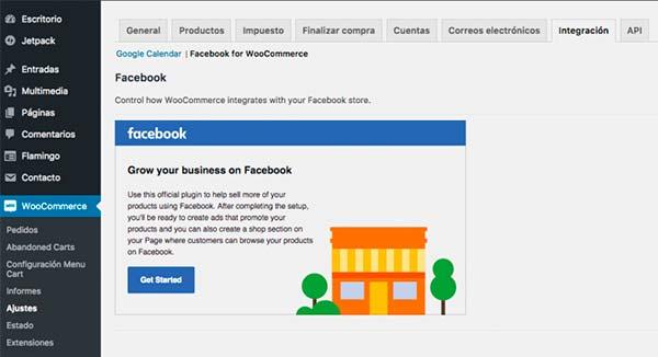 Aquí podremos configurar Facebook para Woocommerce