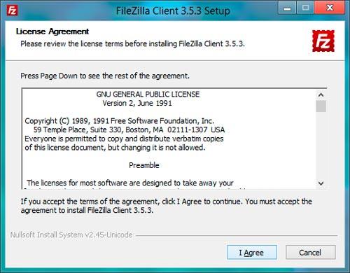Licencia de Filezilla